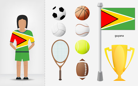 guyanese: Guyanese sportswoman with sport equipment collection vector illustrations Illustration
