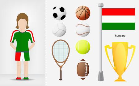 sportswoman: Hungarian sportswoman with sport equipment collection vector illustrations Illustration