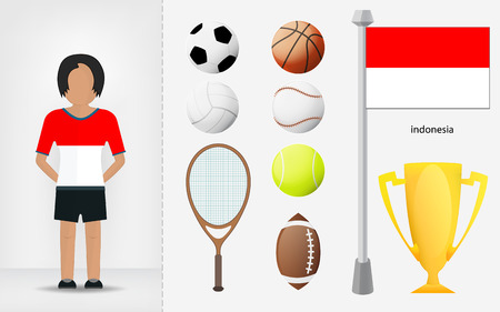 sportswoman: Indonesian sportswoman with sport equipment collection vector illustrations