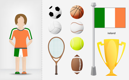 Irish sportswoman with sport equipment collection vector illustrations Vector