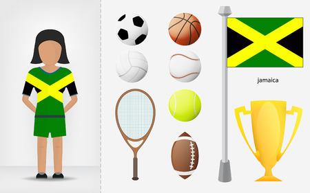 sportswoman: Jamaican sportswoman with sport equipment collection vector illustrations