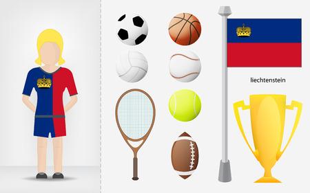 sportswoman: Liechtenstein sportswoman with sport equipment collection vector illustrations