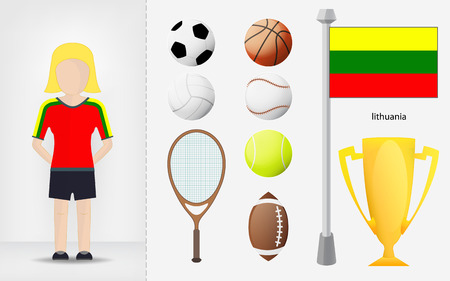 sportswoman: Lithuanian sportswoman with sport equipment collection vector illustrations Illustration