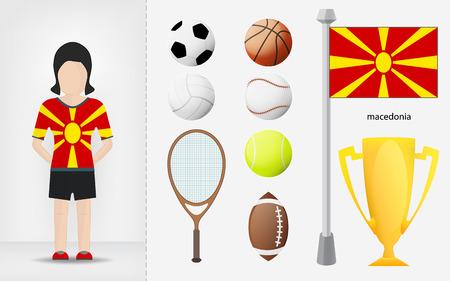 sportswoman: Macedonian sportswoman with sport equipment collection vector illustrations