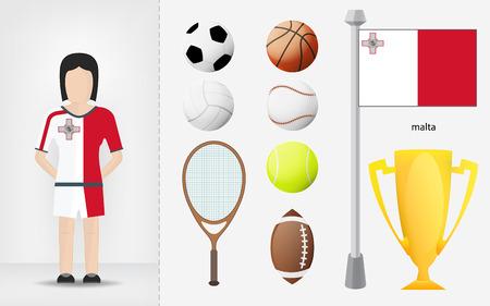 sportswoman: Maltese sportswoman with sport equipment collection vector illustrations