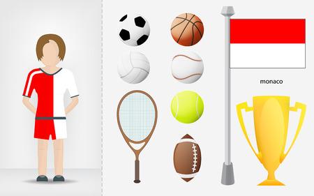 sportswoman: Monaco sportswoman with sport equipment collection vector illustrations