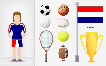 sportswoman: Netherlands sportswoman with sport equipment collection vector illustrations