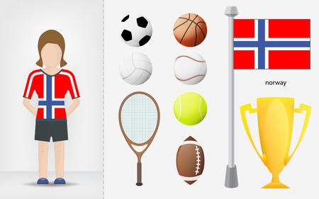 sportswoman: Norwegian sportswoman with sport equipment collection vector illustrations