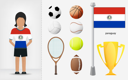 sportswoman: Paraguayan sportswoman with sport equipment collection vector illustrations