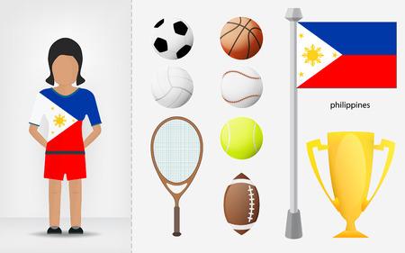 filipino: Filipino sportswoman with sport equipment collection vector illustrations