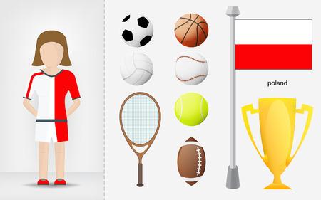 sportswoman: Polish sportswoman with sport equipment collection vector illustrations Illustration