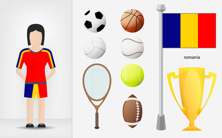 romanian: Romanian sportswoman with sport equipment collection vector illustrations