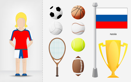 sportswoman: Russian sportswoman with sport equipment collection vector illustrations