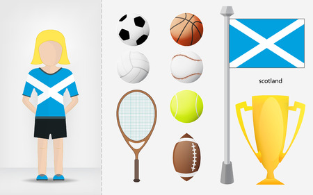 scotch: Scotch sportswoman with sport equipment collection vector illustrations