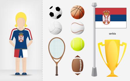 sportswoman: Serbian sportswoman with sport equipment collection vector illustrations
