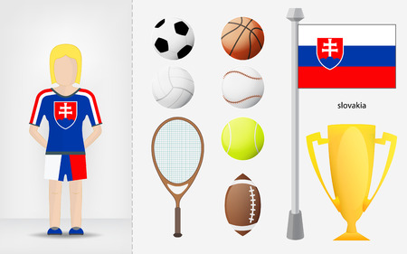 slovakian: Slovakian sportswoman with sport equipment collection vector illustrations
