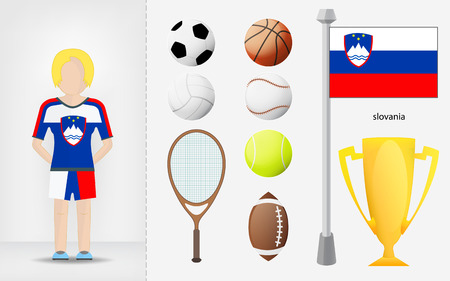 slovenian: Slovenian sportswoman with sport equipment collection vector illustrations