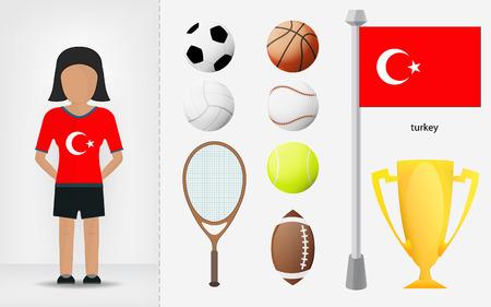 sportswoman: Turkish sportswoman with sport equipment collection vector illustrations Illustration