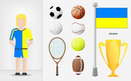 sportswoman: Ukrainian sportswoman with sport equipment collection vector illustrations