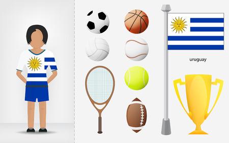 sportswoman: Uruguayan sportswoman with sport equipment collection vector illustrations