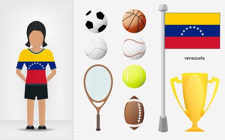 venezuelan: Deportista venezolano con ilustraciones de recogida de material deportivo vector