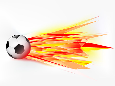 flying football ball with abstract flaming shoot vector illustration Vector