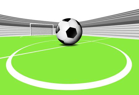 winning pitch: football playground scene of center circle with empty stadium vector