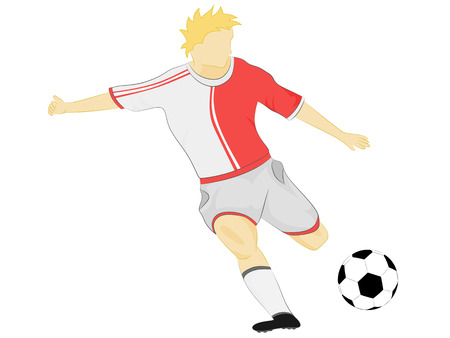isolated red dress soccer player shooting vector illustration Vector