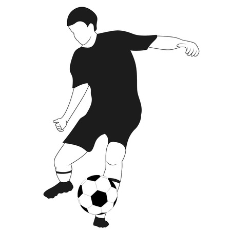 isolated black white footballer shooting vector illustration