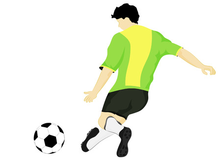 isolated brazil dress football player shooting vector illustration Vector