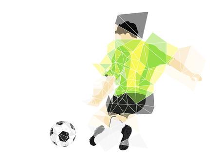 brazil dress football player shooting in triangle design vector illustration Vector
