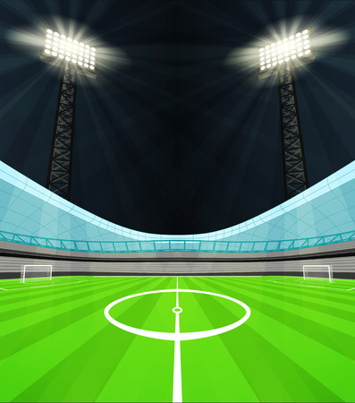 winning pitch: stadium midfield view with shiny reflectors at night vector illustration