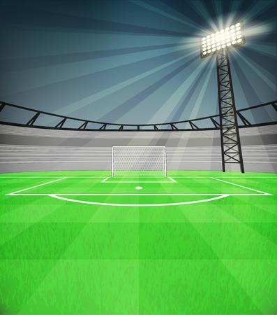 reflector: football shooter goal view with shiny reflector at night vector illustration