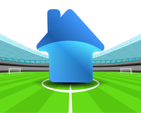 building icon in the midfield of football stadium vector illustration Vector