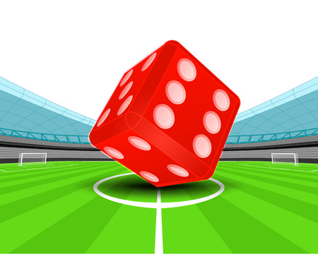 winning pitch: red luck dice in the midfield of football stadium vector illustration