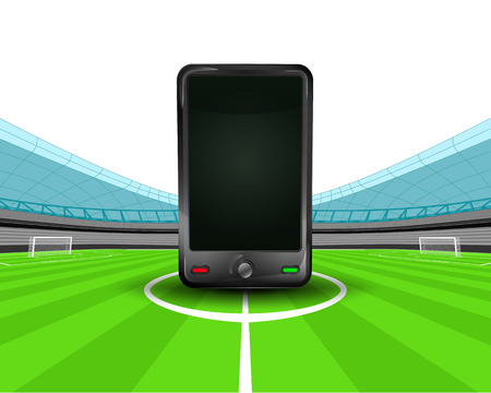 smart phone in the midfield of football stadium vector illustration Stock Vector - 29516256