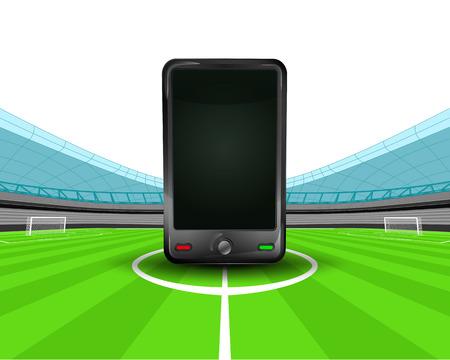 smart phone in the midfield of football stadium vector illustration Stock Vector - 29516256