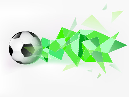 flying football ball with abstract green triangle shoot vector illustration Vector