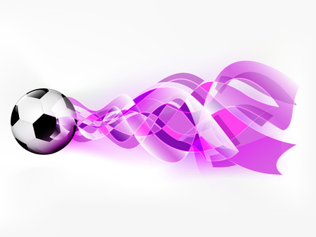 flying football ball with abstract violet shoot vector illustration Vector