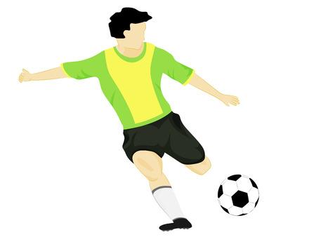 isolated brazil dress soccer player shooting vector illustration Vector
