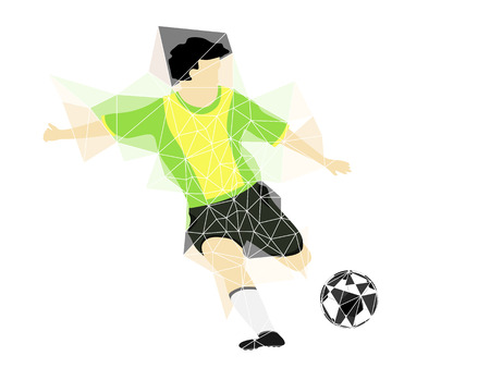 brazil dress soccer player shooting in triangle design vector illustration Vector