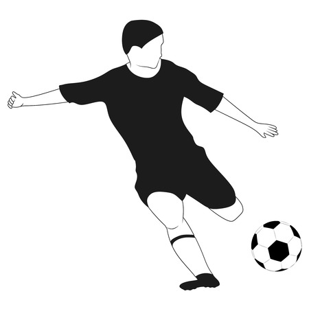 isolated black white soccer player shooting vector illustration Vector