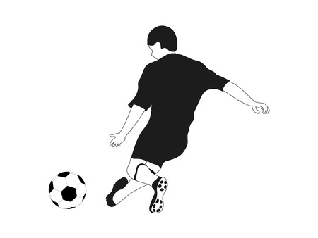 isolated black white football player shooting vector illustration Vector