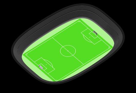 winning pitch: football stadium isometric view design cut on black center vector