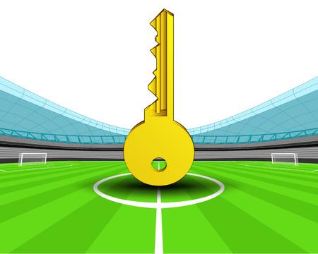 golden key in the midfield of football stadium vector illustration