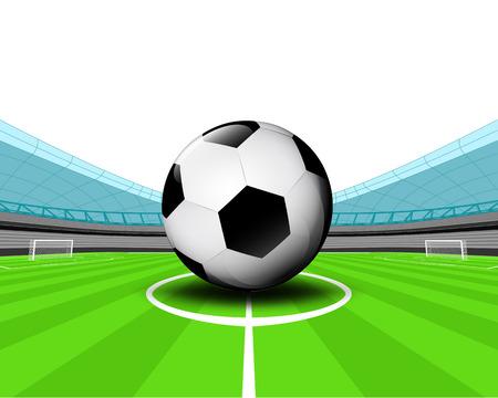 winning pitch: soccer ball in the midfield of football stadium vector illustration