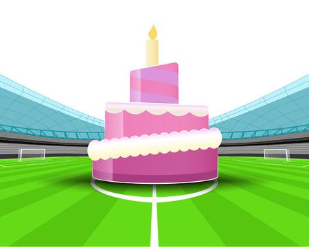 celebration cake in the midfield of football stadium vector illustration Vector