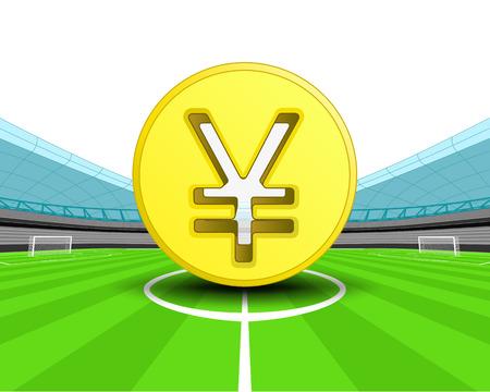 yuan: golden Yuan coin in the midfield of football stadium vector illustration