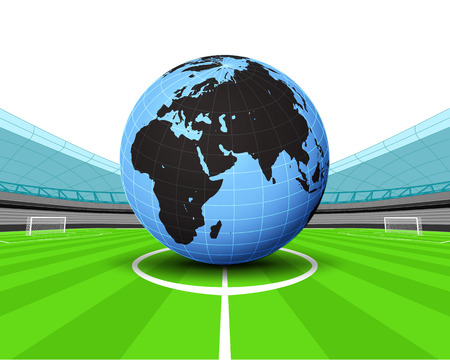 winning pitch: Africa world globe in the midfield of football stadium vector illustration
