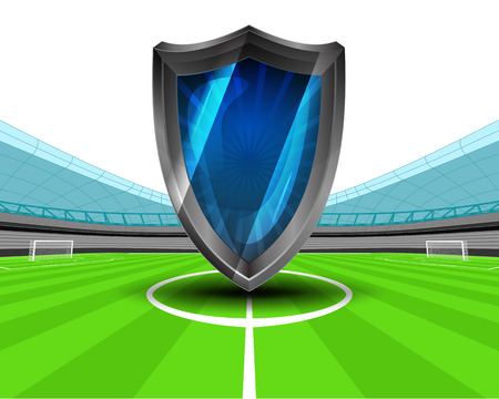 defensive: defensive shield in the midfield of football stadium vector illustration
